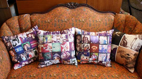 Photo of pillows on couch.